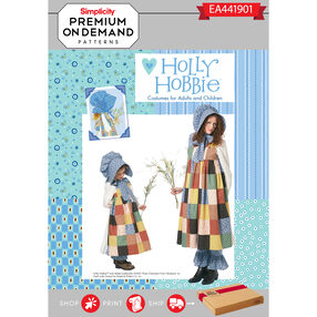 Simplicity Pattern EA441901 Premium Print on Demand Misses' and Child's Holly Hobbie Costumes