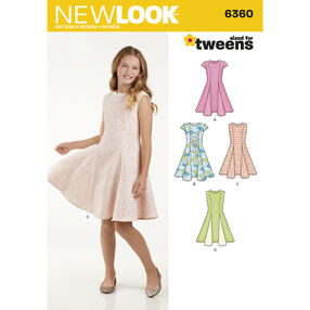 New Look Pattern 6360 Girls' Sized for Tweens Dress