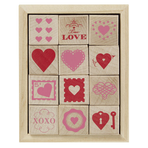 Wood Stamp Set Valentines Day  Hearts_40-20004