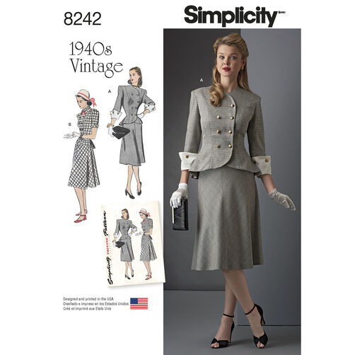 Simplicity Pattern 8242 Vintage 1940s Miss and Plus Size Two-Piece Dress
