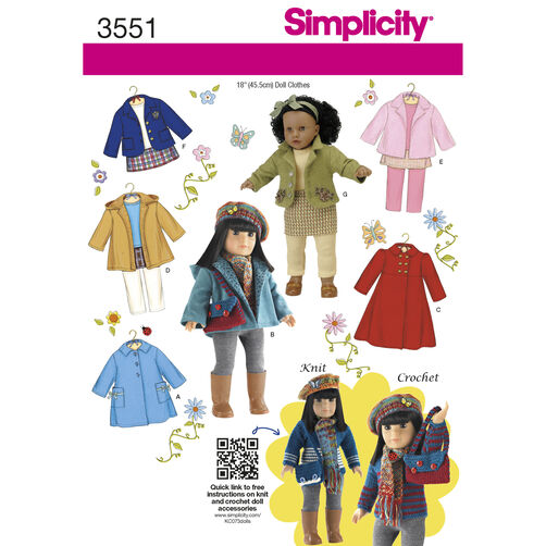"Simplicity Pattern 3551 Doll Clothes for 18"" Doll"