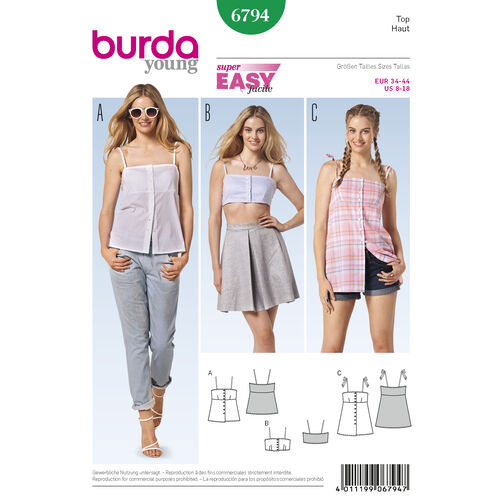 Burda Style Pattern 6794 Tops, Shirts, Blouses
