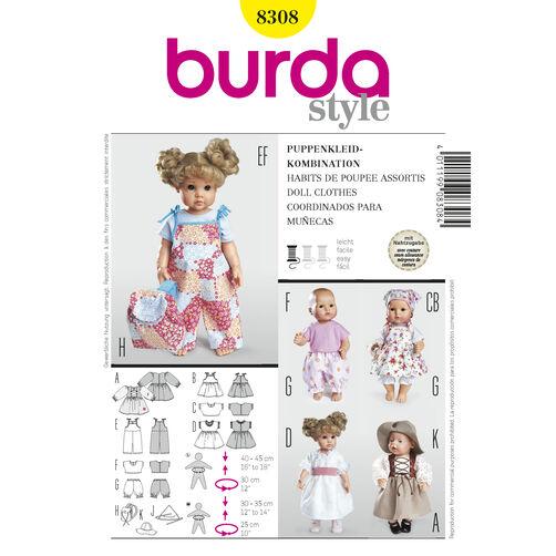 Burda Style Pattern 8308 Doll Clothes