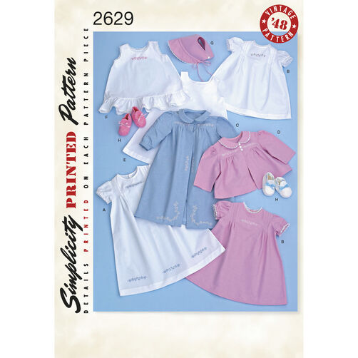 Simplicity Pattern 2629 Babies' 1940s Vintage Layette