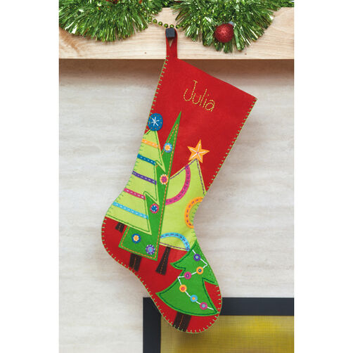 Festive Tree Stocking, Felt Applique_72-08166