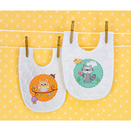 Happi Woodland Bibs, Stamped Cross Stitch_70-73557