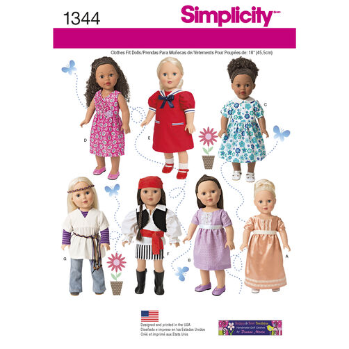 Simplicity Pattern 1344 18 inch Doll Clothes and Costumes