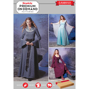 Simplicity Pattern EA989101 Premium Print on Demand Misses' Medieval Dresses