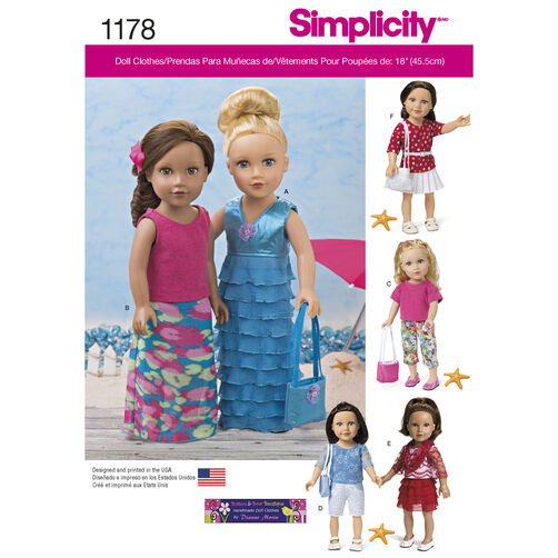 "Simplicity Pattern 1178 Modern Clothes for 18"" Doll"