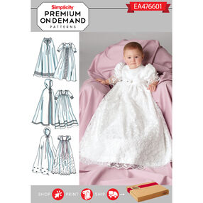 Simplicity Pattern EA476601 Premium Print on Demand Babies' Christening Dress with Cape
