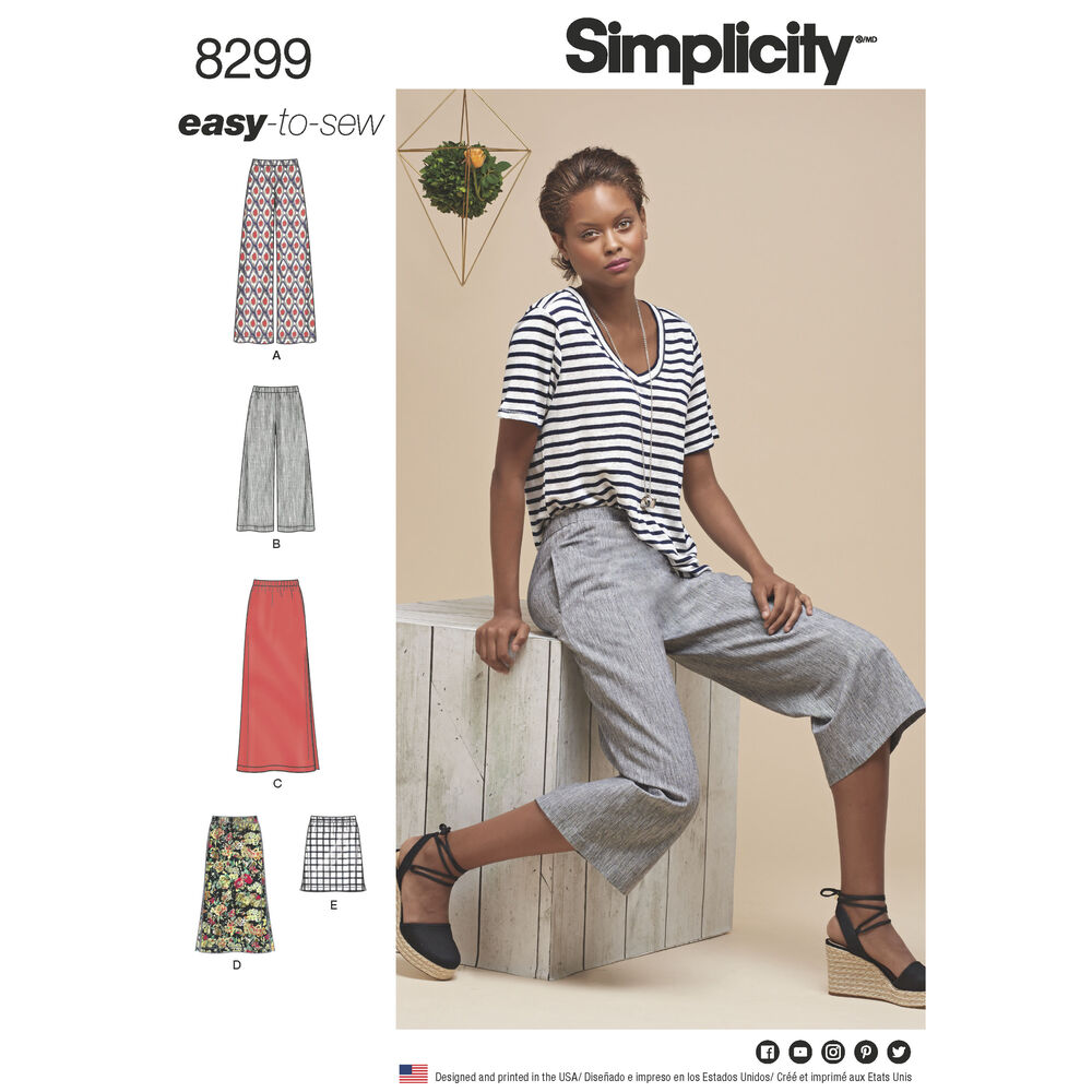 Simplicity Pattern 8299 Misses Skirts Or Pants In Various
