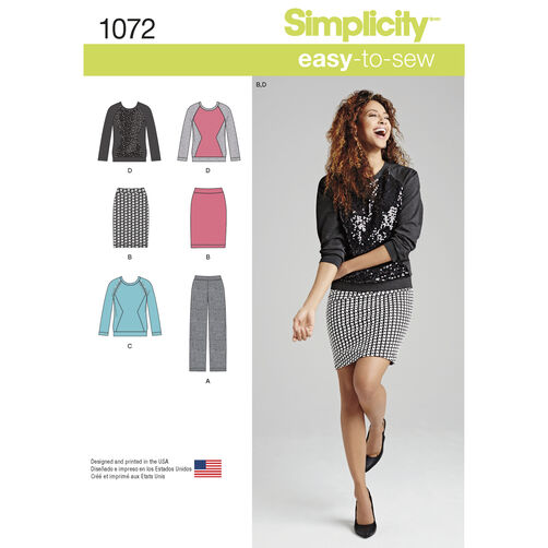 Simplicity Pattern 1072 Misses' Knit Pants, Skirt and Top