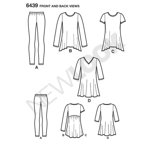 Pattern 6439 Misses' Knit Tunics with Leggings
