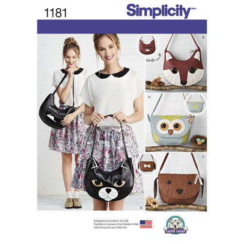 Simplicity Pattern 1181 Animal Bags