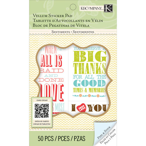 K&Company Beyond Postmarks Letterpress Sentiments Sticker Pad_30-658042