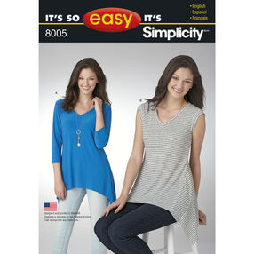 It's So Easy Pattern US8005A Misses' Knit Tops