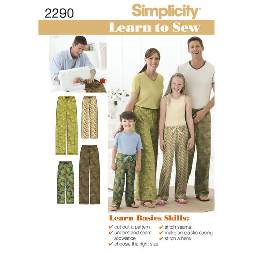 Simplicity Pattern 2290 Child's, Teens' & Adults' Pants