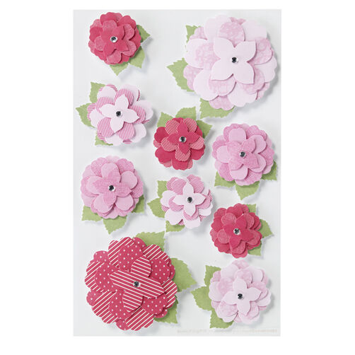 Layered Printed Rose Stickers_41-00155