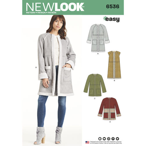 New Look Pattern 6536 Misses' Easy Coat in Two Lengths