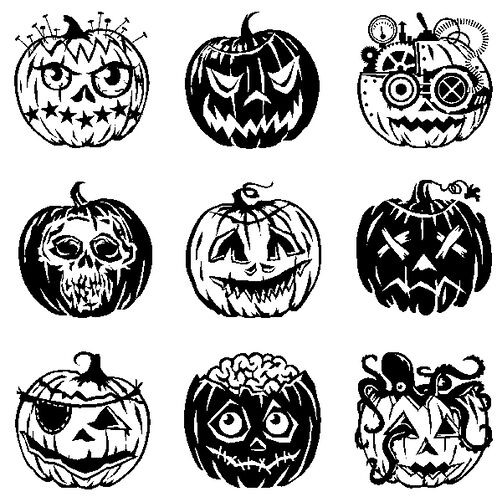Pumpkin Faces Inchies Clear Stamps_60-30934