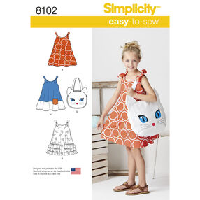 Pattern 8102 Child's Easy-to-Sew Sundress and Kitty Tote