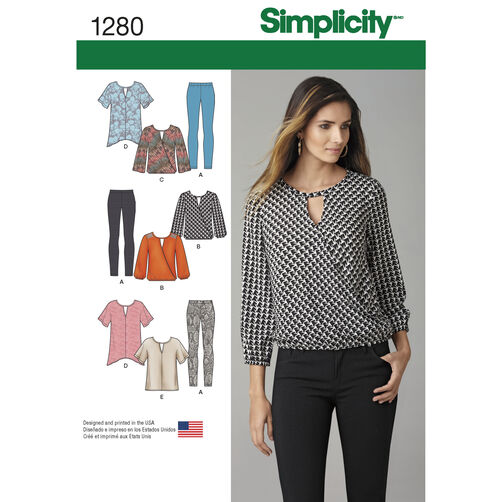 Simplicity Pattern 1280 Misses' Tunics, Top and Leggings