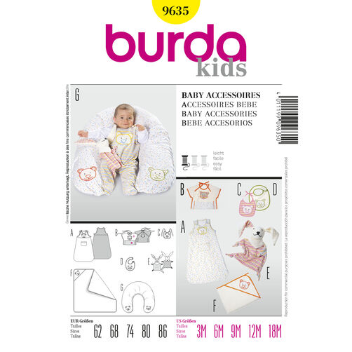 Burda Style Pattern 9635 Baby Accessories