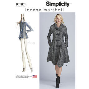 Simplicity Pattern 8262 Leanne Marshall Coat or Jacket for Misses
