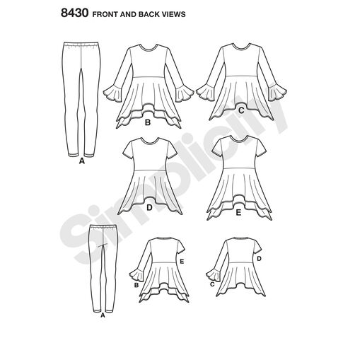 Pattern 8430 Child's/Girl's Knit Tunics in Two Lengths and