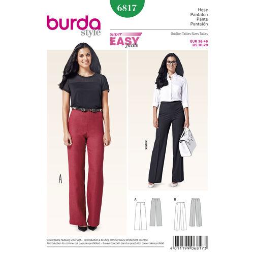 Burda Style Pattern 6817 Pants, Jumpsuits