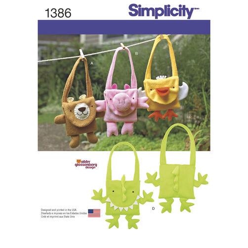 Simplicity Pattern 1386 Fleece Animal Bags