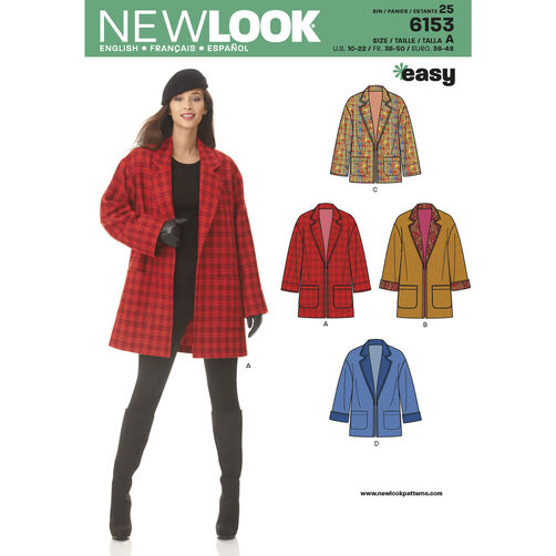 New Look Pattern 6153 Misses' Coat