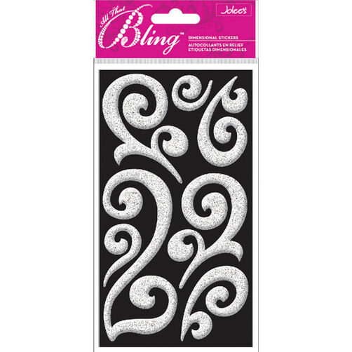 Bling - Silver Puffy Flourish Dimensional Stickers_52-30005