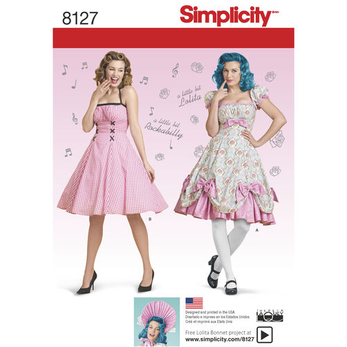 Simplicity Pattern 8127 Misses' Lolita and Rockabilly Dresses
