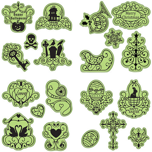 Holiday Cling Stamp 20-Piece Set_65-32067