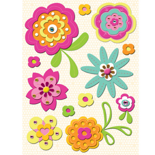 Berry Sweet Florals Felt Stickers_594159