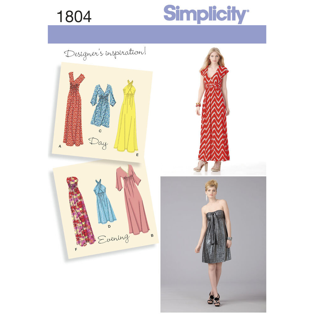 Pattern For Misses Knit Dresses Simplicity