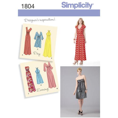 Simplicity Pattern 1804 Misses' Knit Dresses