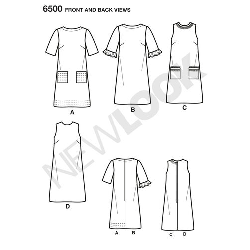 New Look Pattern 6500 Misses' Dress with Neckline, Sleeve