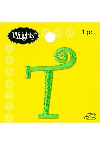"1-1/2"" Curlz Font Letter Iron-On Applique, Green"