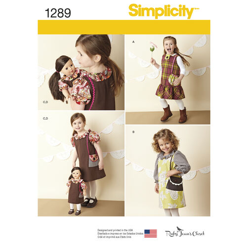 """Child's Dress and Doll Dress for 18"""" Doll"""