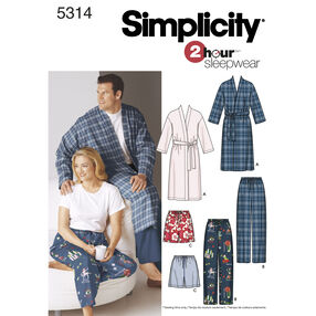 Simplicity Pattern 5314 Women's & Men's Plus Size Sleepwear
