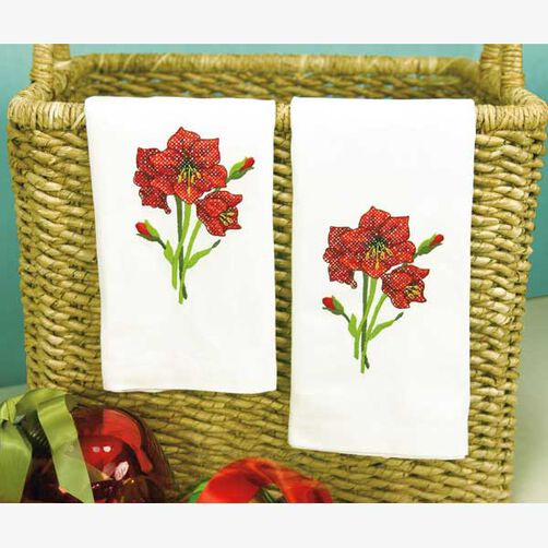 Amaryllis Guest Towels in Stamped Cross Stitch_72-08911