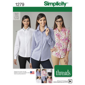 Simplicity Pattern 1279 Misses' Shirt with Collar Variations