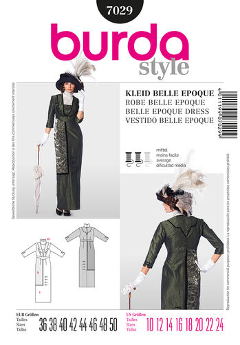 Burda Style Pattern 7029 Historical Belle Epoque Dress