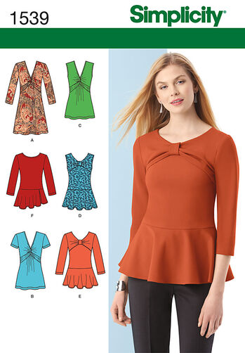 Misses' Knit Tunic or Top and Peplum Tops