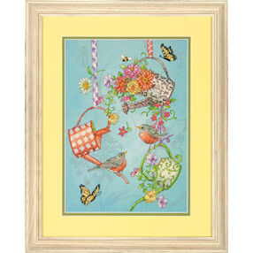 Blooming Watering Cans Stamped Cross Stitch_70-03246