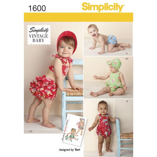 Simplicity Pattern 1600 Babies' Vintage Romper Set