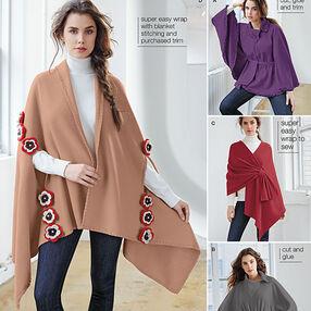 Misses' Fleece Ponchos and Wraps