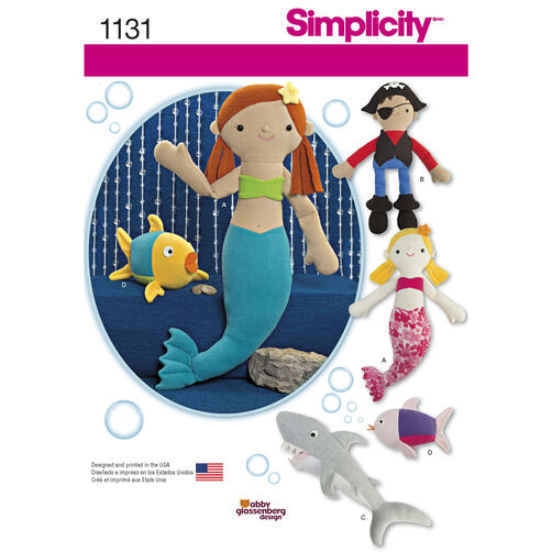 Simplicity Pattern 1131 Stuffed Mermaid, Pirate, Shark and Fish